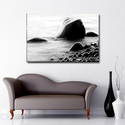 Black and White Art Canvas of Rocks in Sea in Norway