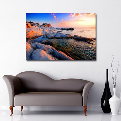 Landscape Art Canvas of sunset over Rock pools