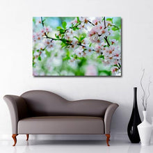 Load image into Gallery viewer, Landscape Canvas of Apple tree branch with pale pink apple blossoms