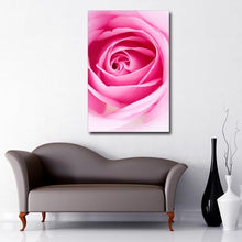 Load image into Gallery viewer, Portrait Art Canvas of close up of open pink rose petals