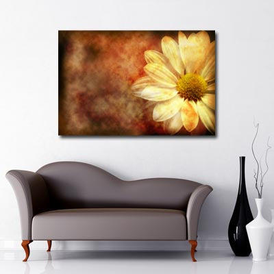 Vintage Daisy Landscape Art Canvas in autumnal colours