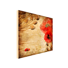 Load image into Gallery viewer, Square Canvas Art of vintage poppy print in red and natural colours