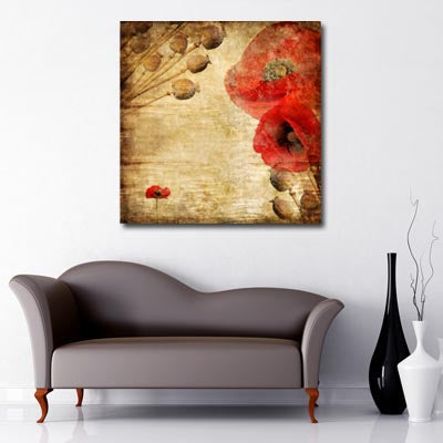 Square Canvas Art of vintage poppy print in red and natural colours