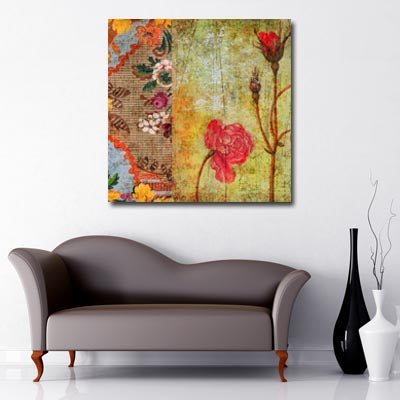 Square Canvas Art of vintage rose print in red and natural colours
