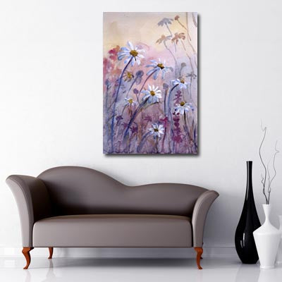 Portrait Art Canvas of pastel coloured watercolour painted daisies in fields
