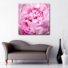 Square Canvas Art close up of two toned pink flower with with ruffled edge petals