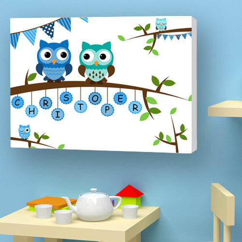 Owl canvas personalised name boy blue birth christening birthday gift