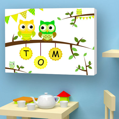 Owl canvas personalised name yellow green birth christening birthday gift