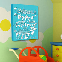 Baby boy birth announcement canvas birth christening gift