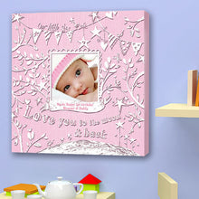 Love You To the Moon Birth Announcement Canvas
