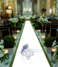 Wedding Aisle runner personalised peacock theme bride and groom date of wedding