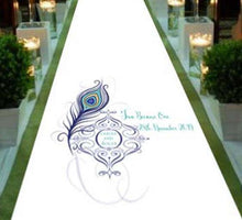Personalised Wedding Aisle Runner - Peacock Design