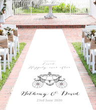 Load image into Gallery viewer, Personalised aisle runner wedding disney princess carriage theme