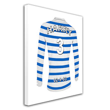 Queens Park Rangers Football Club blue and white personalised football shirt canvas
