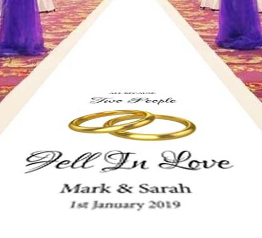 Entwined Golden Rings - Personalised Wedding Aisle Runner