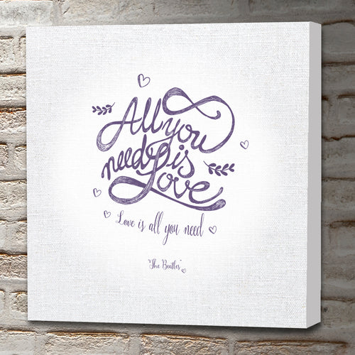 Portrait Art Canvas, Song Lyrics From The Beatles   All You Need Is Love