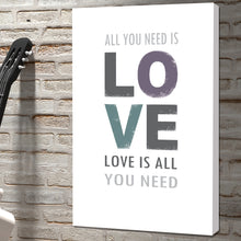 Load image into Gallery viewer, Portrait Art Canvas, Song Lyrics from The Beatles - All you need is Love