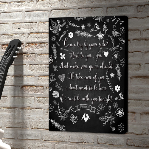 Portrait Art Canvas, Song Lyrics from Sam Smith - Lay Me Down
