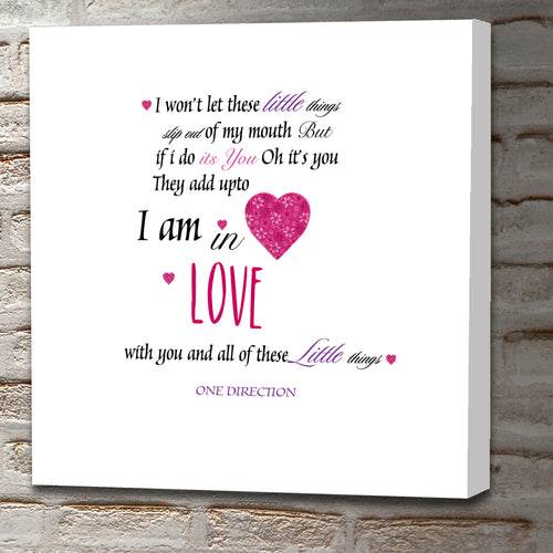Square Art Canvas using lyrics from One Direction - Little Things