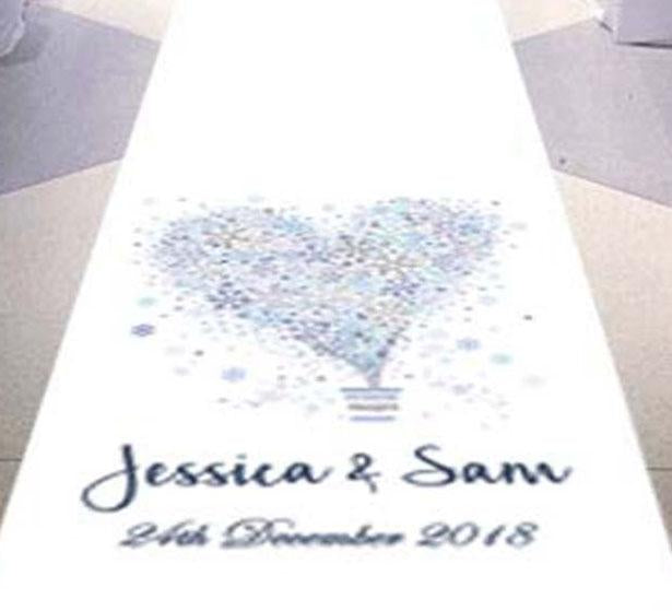 personalised wedding aisle runner snowflake theme winter wedding venue
