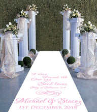 Load image into Gallery viewer, Song of solomon 3:4 I have found the one my soul loves personalised wedding aisle runner