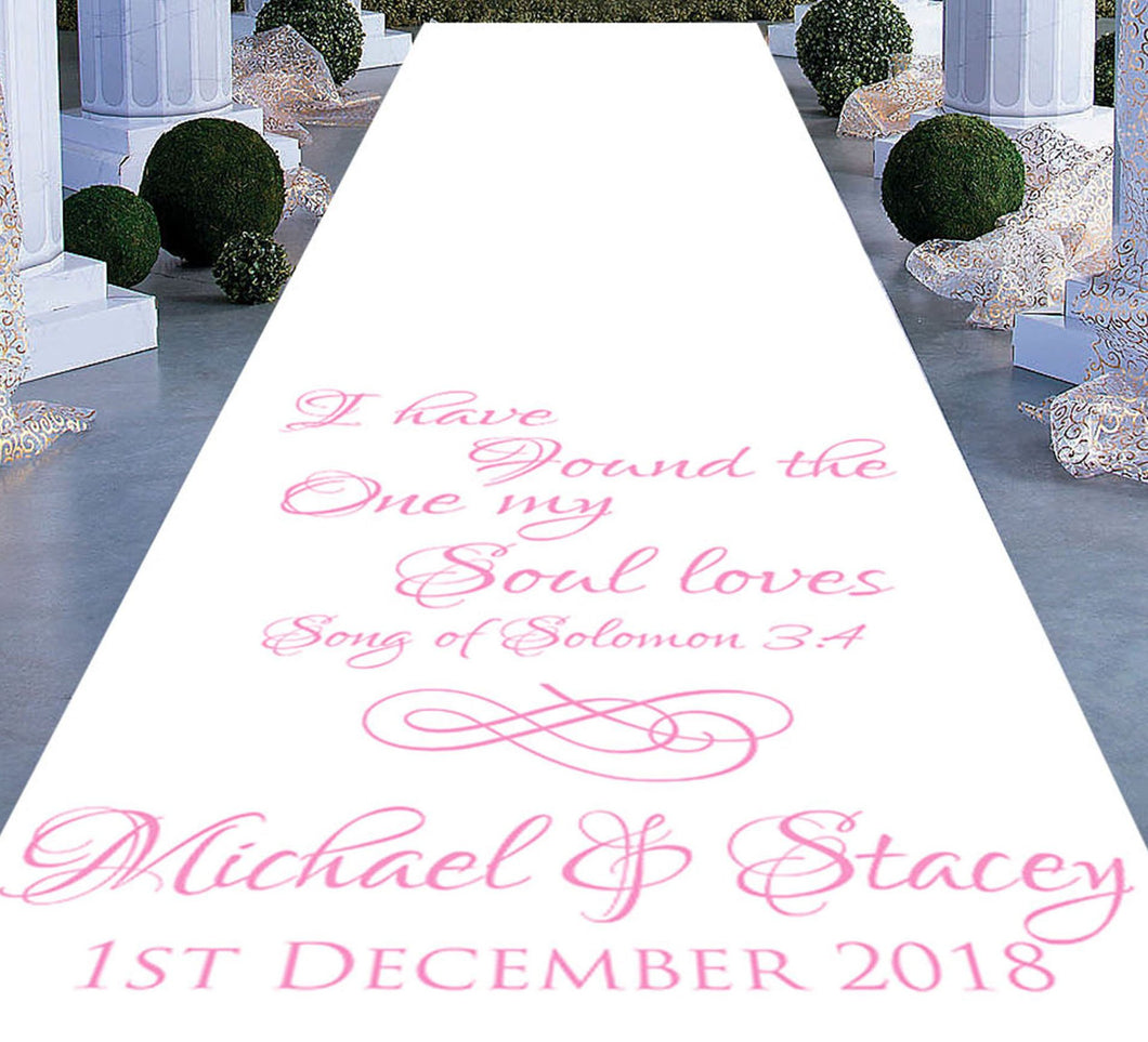 Song of solomon 3:4 I have found the one my soul loves personalised wedding aisle runner