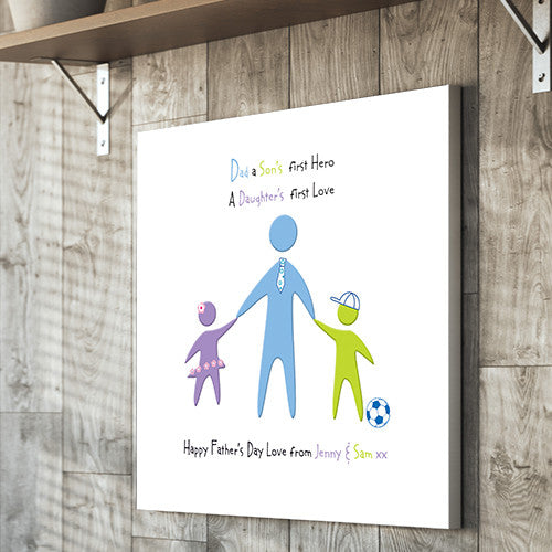 Father's Day Canvas son's first hero daughter's first love personalised gift