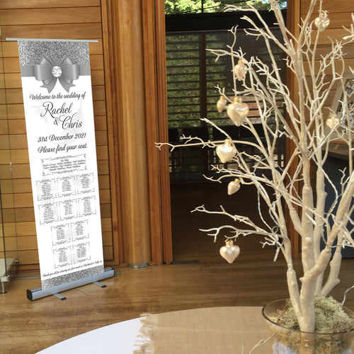 Wedding Table Plan - Wedding  Seating Plan - Feather & Bow  - Roll Up Banner