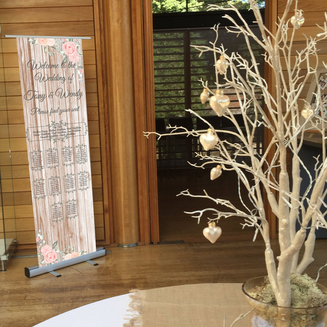 Wedding Table Plan - Wedding  Seating Plan - Flowers & Wood  - Roll Up Banner