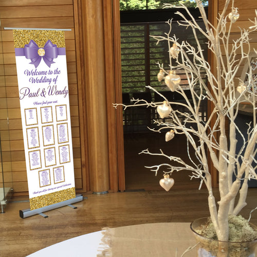 Wedding Table Plan - Wedding  Seating Plan - Glitter & Bow  - Roll Up Banner