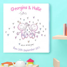 Twins Birth Announcement Canvas