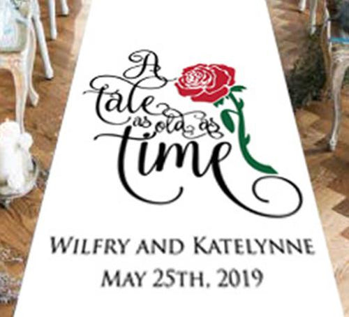 wedding aisle runner beauty and the beast a tale as old as time personalised bride and groom