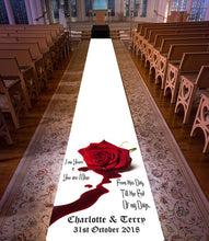 personalised wedding aisle runner till the end of my days personalised venue bride and groom Red Rose