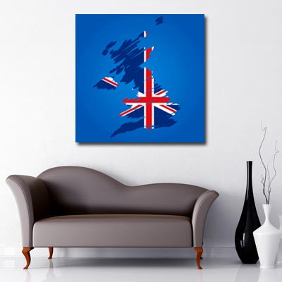 United Kingdom with Union Jack Flag - London Canvas
