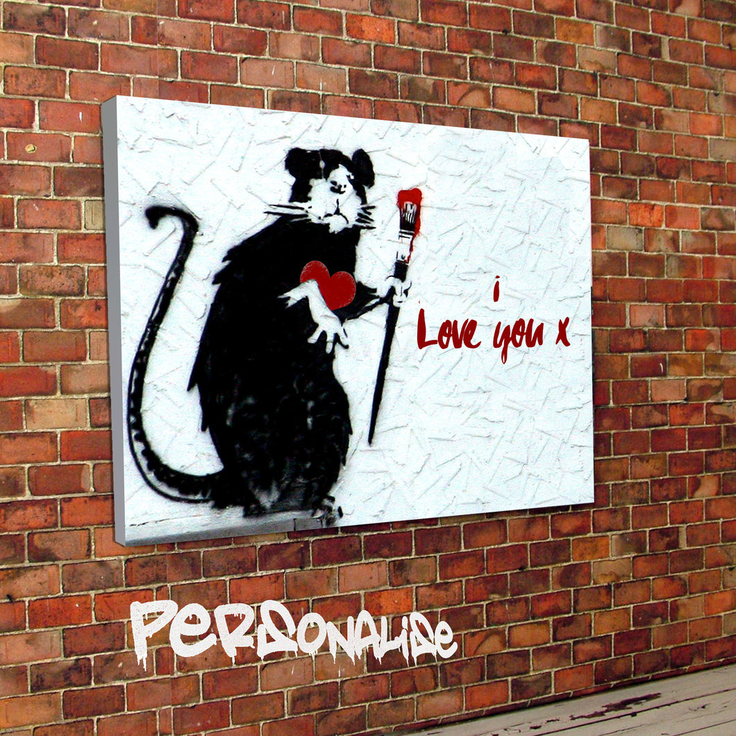 Personalised Banksy Rat designed valentines canvas