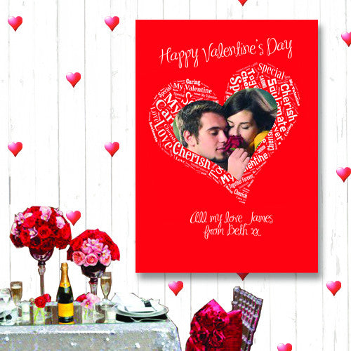 Valentines Text art personalised Canvas own photo and greeting great gift