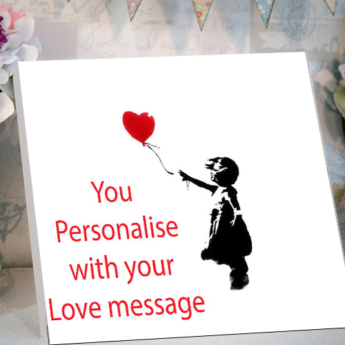 valentines desktop canvas card banksy red balloon personalised