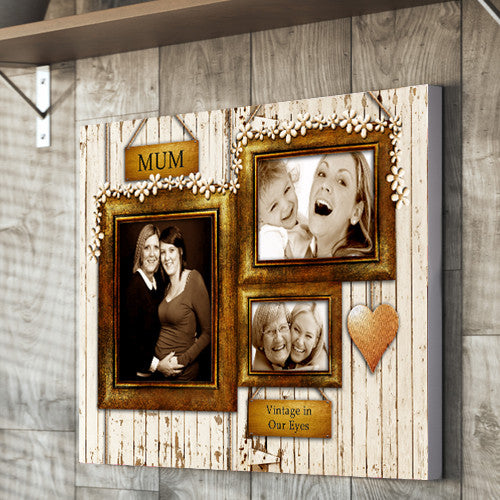 Vintage frame 3 image Mother's day  Canvas