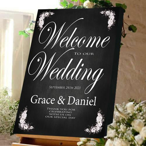 Wedding welcome sign wedding celebration bride and Groom Chalkboard canvas