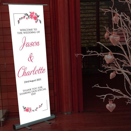 Welcome to our wedding simple flowers pop up banner
