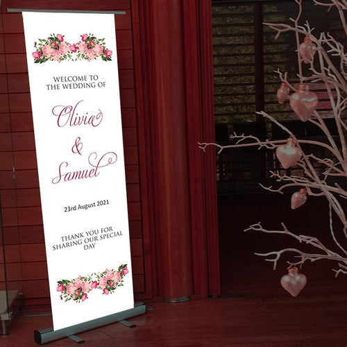 wedding welcome banner roses
