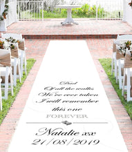 personalised wedding aisle runner dad of all the walks remember forever