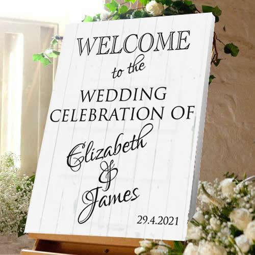 Wedding welcome sign wedding celebration bride and Groom white wood effect canvas