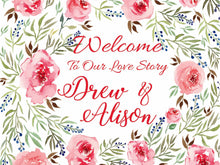 Wedding Welcome Sign - Pastel Roses