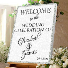 Wedding welcome sign wedding celebration bride and Groom Damask effect Canvas