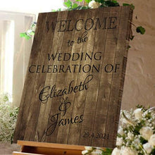 Wedding welcome sign wedding celebration bride and Groom dark wood effect canvas