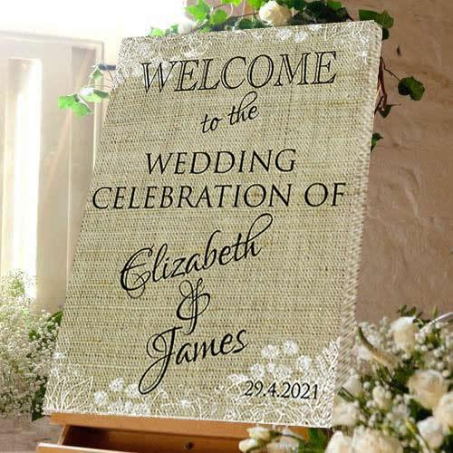 Wedding welcome sign wedding celebration bride and Groom hessain effect canvas