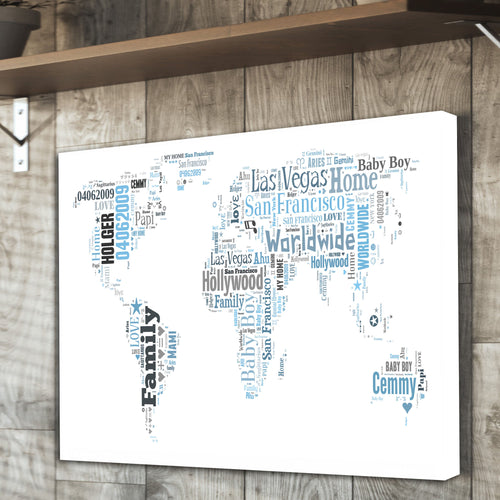 World Map Text Montage