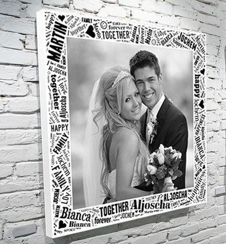 photo upload word art montage canvas gift wedding birthday christmas