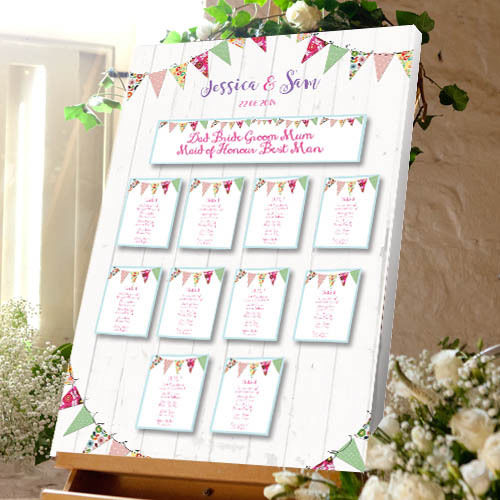 Bunting Wedding Table Plan - Canvas Seating Meal Plan